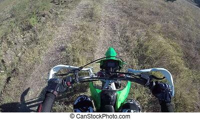 PoV: Flock of sheep running away from enduro racer on dirt bike