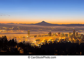 Portland Cityscape Covered in Fog During Sunrise - Portland...