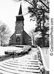 Old Country Church in Black and White - This old church sits...