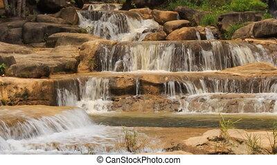 closeup mountain stream cascade among stones in park
