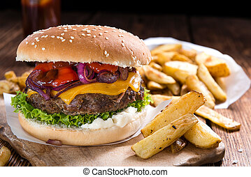 Beef Burger with Cheese and Chips - Homemade Beef Burger...