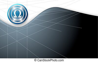 Vector abstract background with omega symbol
