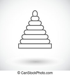 Pyramid toy icon Thin line flat vector related icon for web...