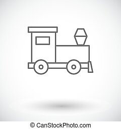 Train toy icon. Thin line flat vector related icon for web...