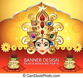 navratri celebration background with goddess durga vector...