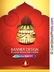 indian celebration background with kalash vector...