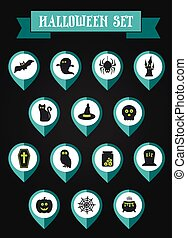 Set of halloween mapping pin icon, vector illustration eps...