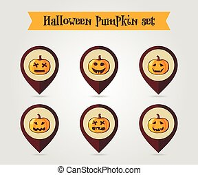 Halloween pumpkins mapping pin icon set