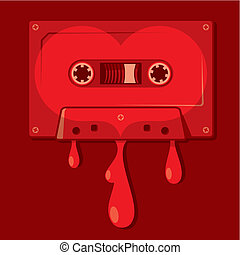 Love songs vector - Audio cassette with a heart shape on it...