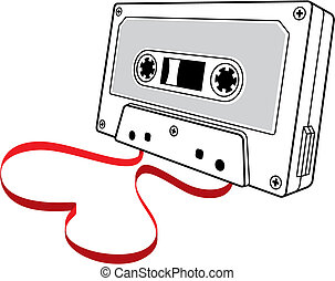 Love songs 2 vector - Line art of audio cassette with loose...