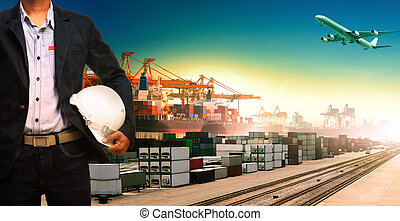working man and ship,trains ,plane ,freight cargo logistic...
