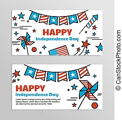 Vector banners for American Independence Day.