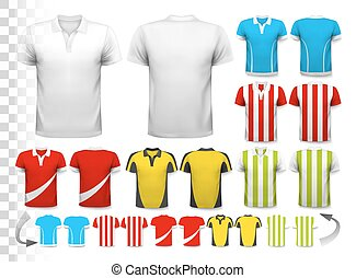 Collection of various soccer jerseys. The T-shirt is...
