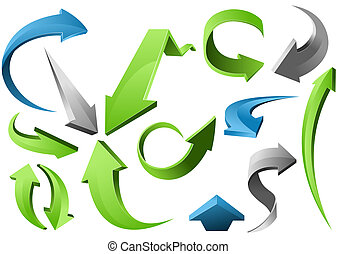 3D Arrow Signs - Three-dimensional Arrow Signs Set of...