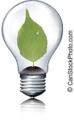 Eco light bulb with green leaf.