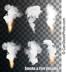 Smoke and fire on transparent background.