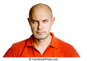 Unshaven fearsome middle-aged man in a red T-shirt. Studio....