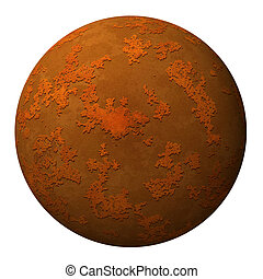Sphere ball or planet with a rusty textured surface - Sphere...