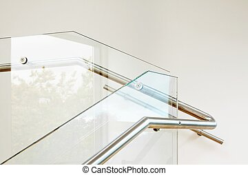 Modern architecture interior with glass balustrade