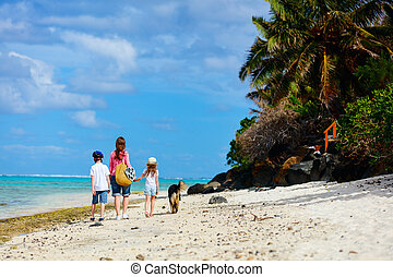 Mother and kids on a tropical beach - Active family of...