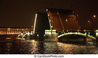 Birzhevoy drawbridge Saint-Petersburg White nights Neva The...