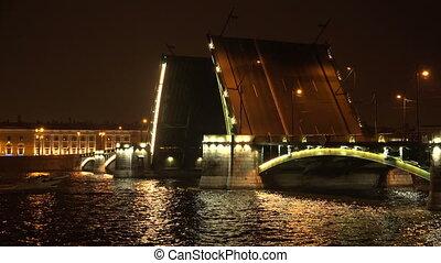 Birzhevoy drawbridge. Saint-Petersburg. White nights. Neva....