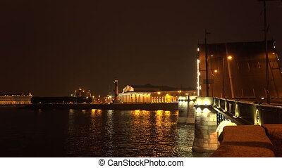 Birzhevoy drawbridge. Saint-Petersburg. White nights. Neva....