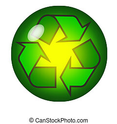 Recycling symbol inside a crystal ball or marble