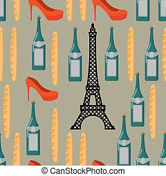 Paris seamless background. French infinite pattern. Attractions of country: Eiffel Tower. Traditional French food: baguette and wine. Patriotic Ornament for fabrics