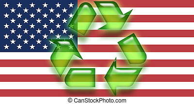 Flag of United States of America recycling
