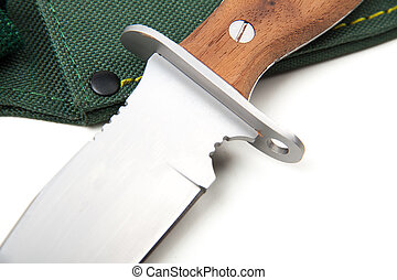 hunting knife with wooden handle, isolated - hunting knife...