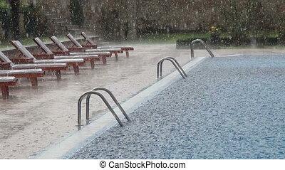Rain drop scene in the swimming pool