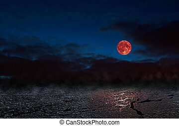 Red moon - bloodmoon - Red full moon in red color also...
