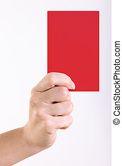 Red card - Woman hand with red card over white background