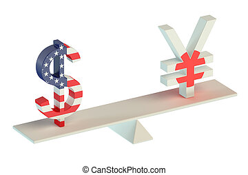 Dollar or Yen, USD/JPY balance concept isolated on white...