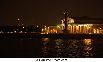 Stock exchange building in St. Petersburg. Rostral columns....