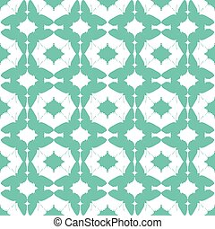 Abstract Aqua Green Butterfly Diamond Seamless Pattern...