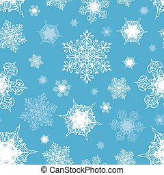 Azure Blue White Ornate Snowflakes Seamless Pattern graphic...