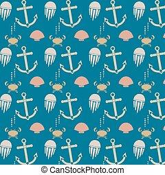 Sea seamless pattern - Seamless pattern set of marine...