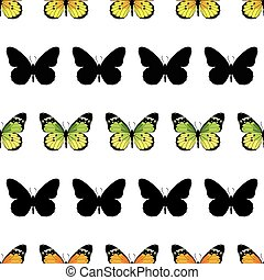 Monarch Butterfly Stripes Seamless Pattern graphic design