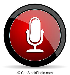 microphone red circle glossy web icon on white background -...