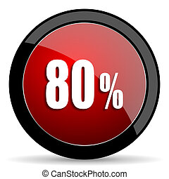 80 percent red circle glossy web icon on white background -...