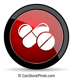 medicine red circle glossy web icon on white background -...