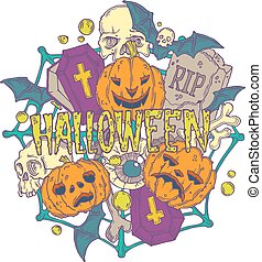 Halloween card with pumpkins and horror elements