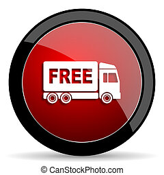 free delivery red circle glossy web icon on white background...