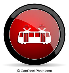 tram red circle glossy web icon on white background - set440