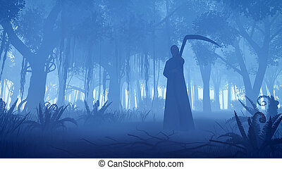 Grim reaper in a misty night forest