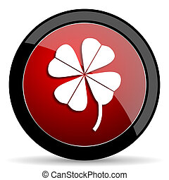 four-leaf clover red circle glossy web icon on white...