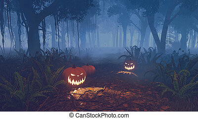 Halloween pumpkins in a scary night forest