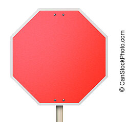 Stop Red Road Sign 3d Background Blank Copy Space - A red...